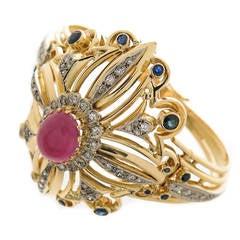 1980s Lalaounis Gold and gem set Bracelet