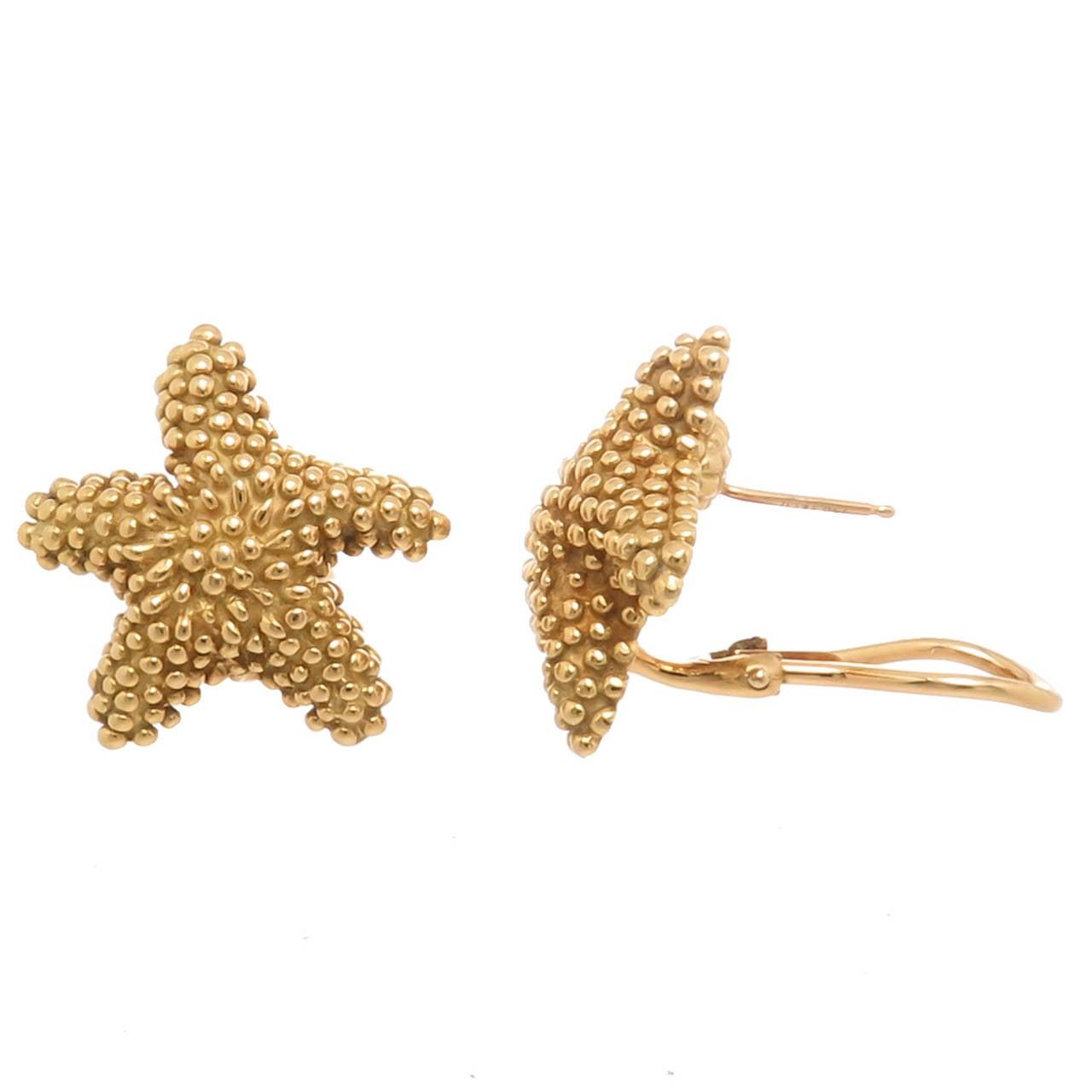 Tiffany & Co. Yellow Gold Starfish Earrings 2