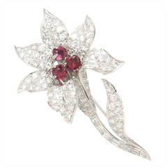 Diamond Platinum Flower Brooch