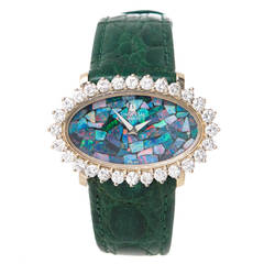 Univeral Lady's White Gold and Diamond Wristwatch with Opal Dial circa 1970s