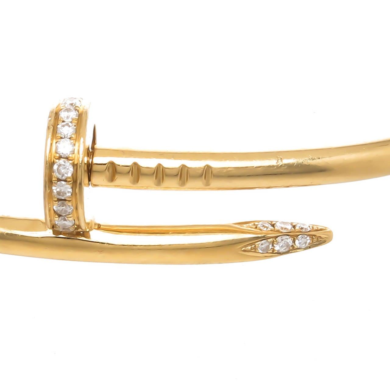 Cartier Juste Un Clou Diamond Gold Nail Bracelet at 1stdibs