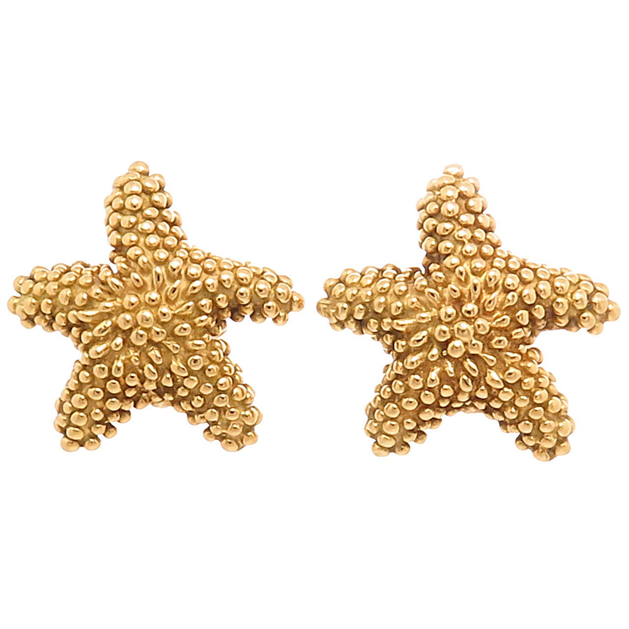 Tiffany & Co. Yellow Gold Starfish Earrings 1