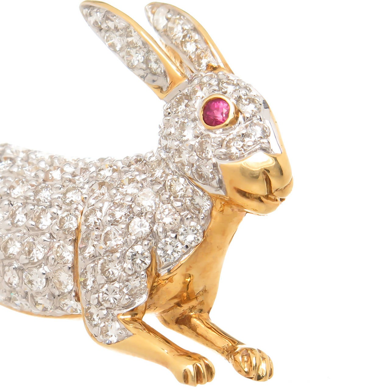 Diamond Yellow Gold Set Bunny Rabbit Brooch 3