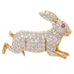 Diamond Yellow Gold Set Bunny Rabbit Brooch