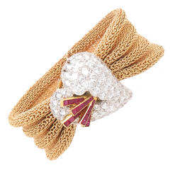 Yellow Gold Diamonds and Rubies Surprise Watch Bracelet
