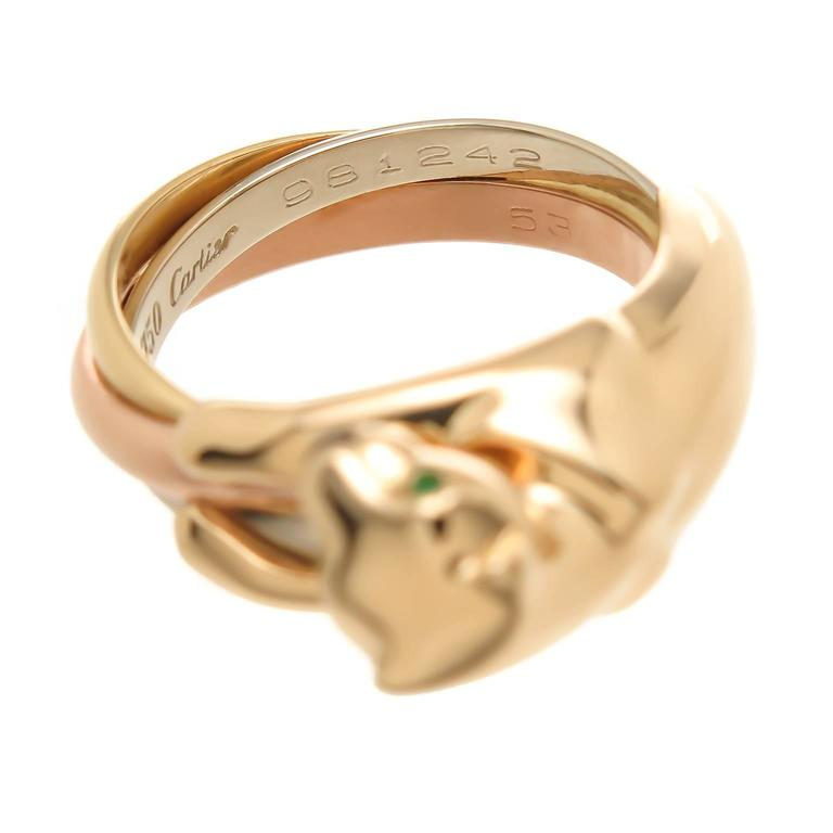 Women's or Men's Cartier Tricolor Gold Trinity Panther Ring For Sale