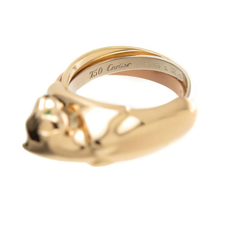 Cartier Tricolor Gold Trinity Panther Ring In Excellent Condition For Sale In Chicago, IL