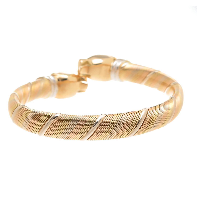 cartier tri color gold panther bracelet at 1stdibs