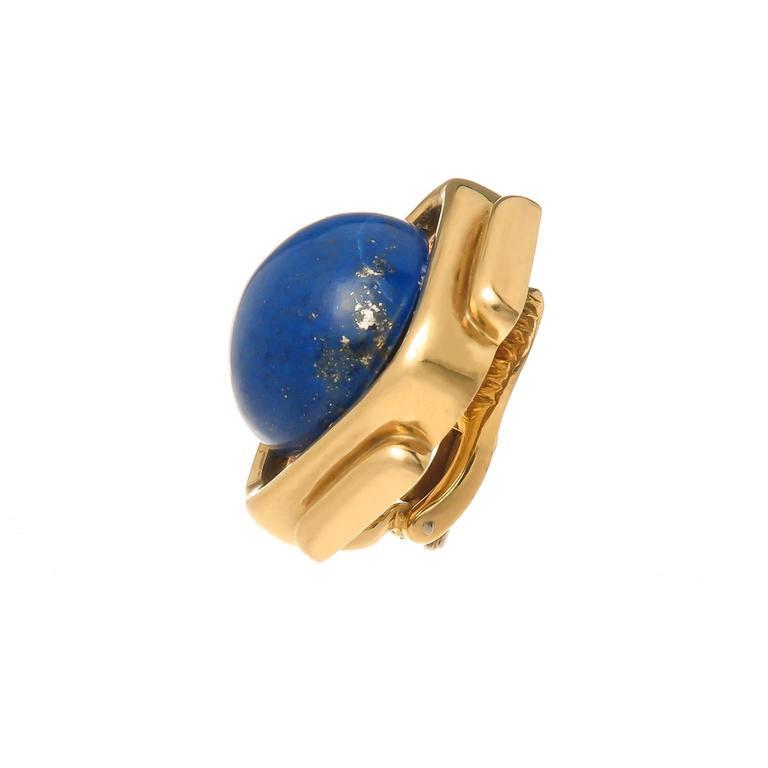 Cartier Lapis Gold Earrings 3