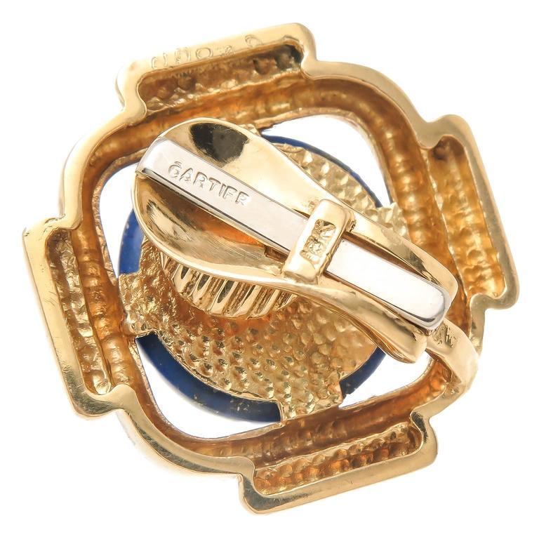Cartier Lapis Gold Earrings 4