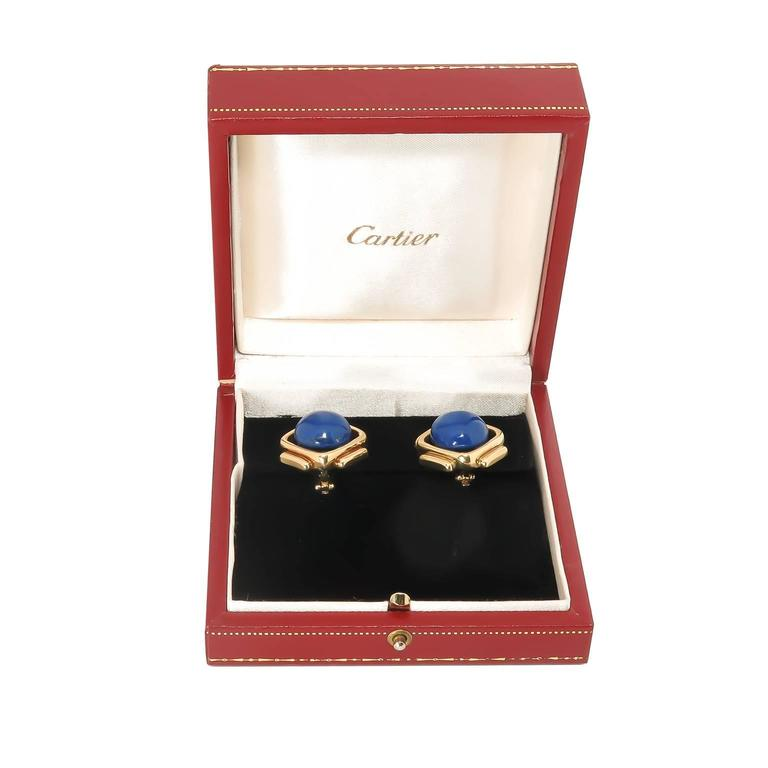 Cartier Lapis Gold Earrings 2