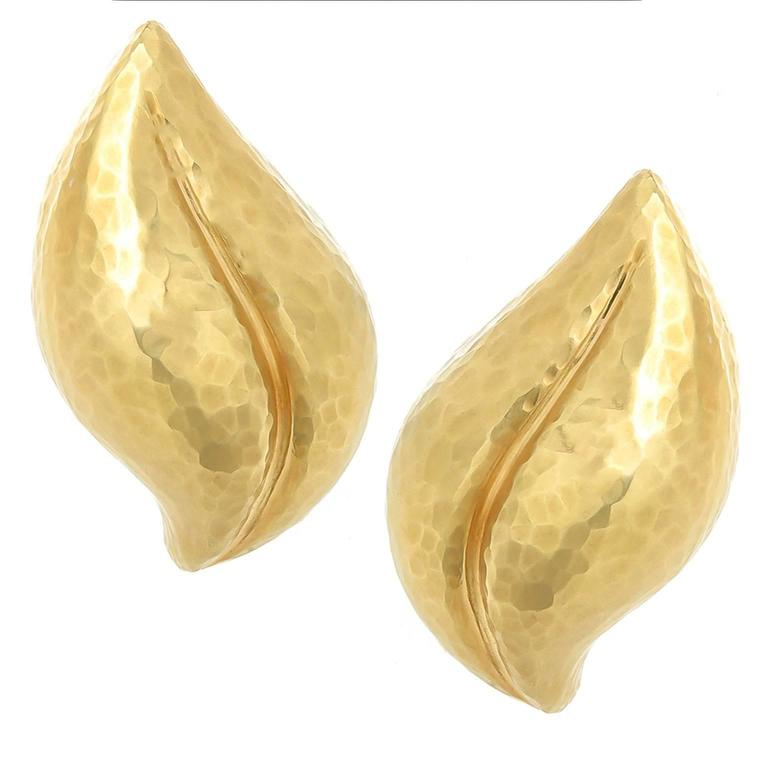 Tiffany & Co. Paloma Picasso Hammered Gold Leaf earrings 1