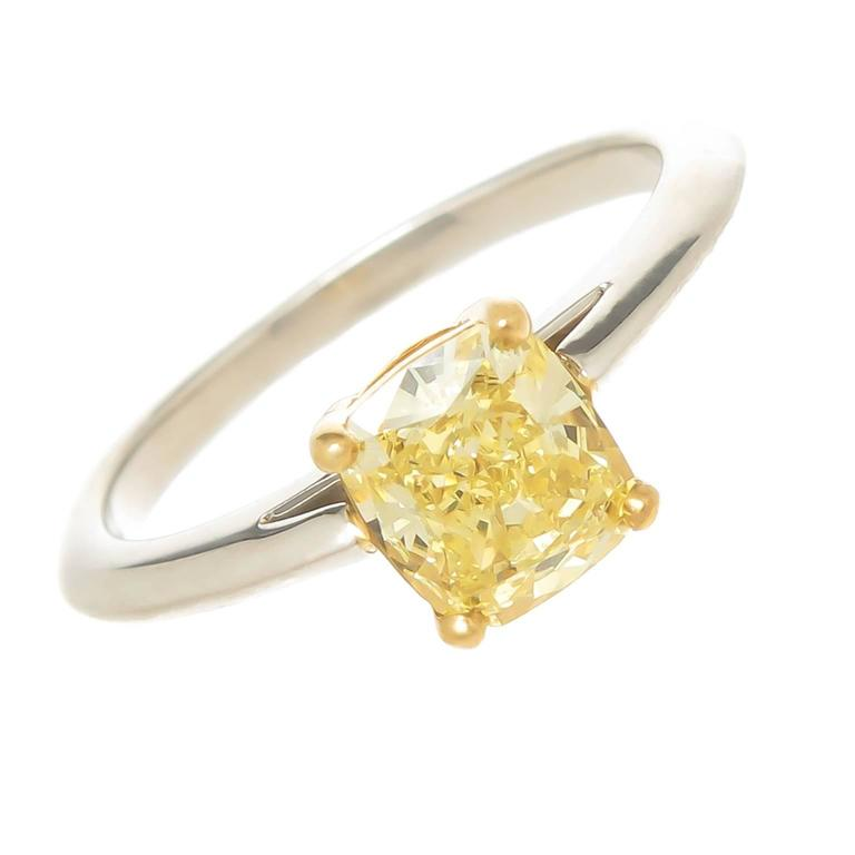 Tiffany Co 1 06 Fancy Intense Yellow Cushion Diamond Engagement Ring