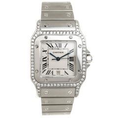 Cartier Santos Steel Quartz Watch with Diamond Bezel