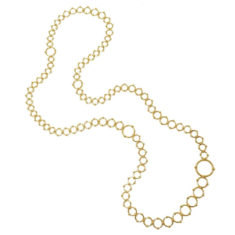 Tiffany & Co. Yellow Gold Long Circles Necklace For Sale
