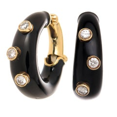 David Webb Enamel Diamond Gold Hoop Earrings