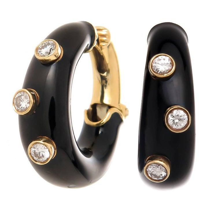 David Webb Enamel Diamond Gold Hoop Earrings For Sale
