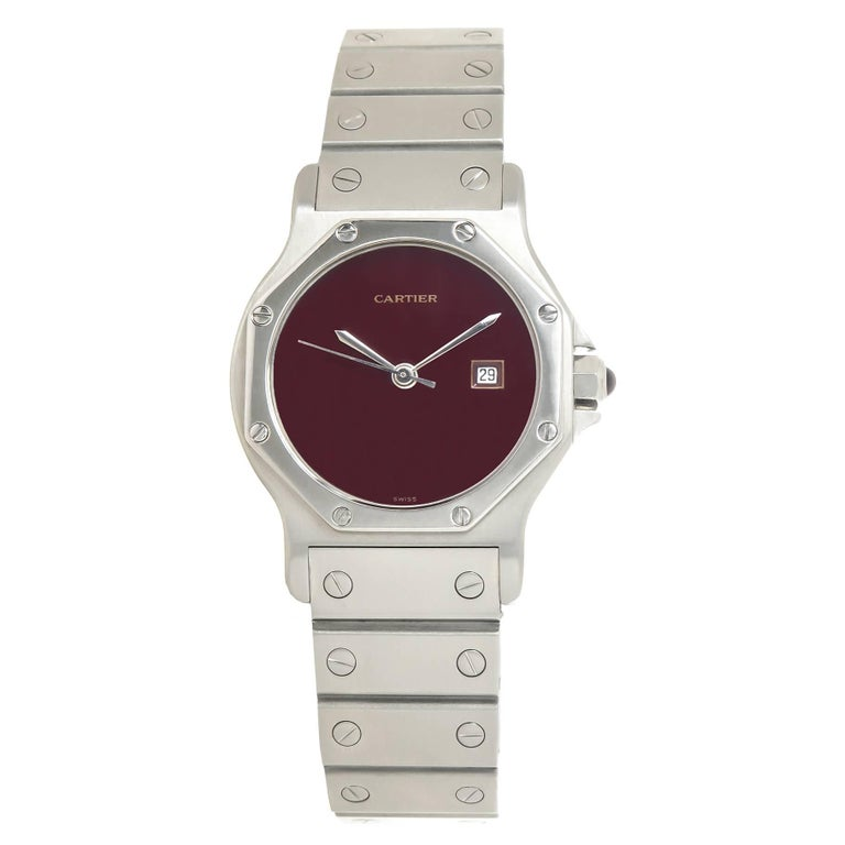 Cartier Stainless Steel Santos Red Dial Medium Automatic Wristwatch