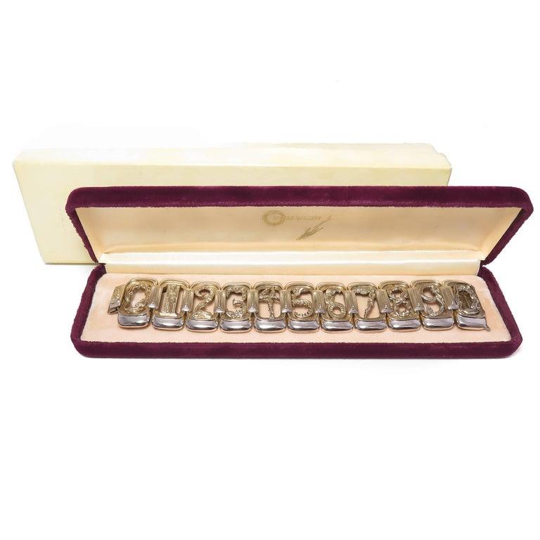 Erte Art Deco Silver Numbers Suite Bracelet, 1980s For Sale 1