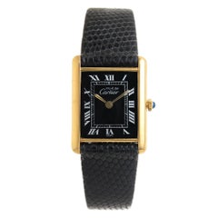 Cartier Vermeil Must de Cartier Tank Manual Wind Wristwatch, circa 1990s