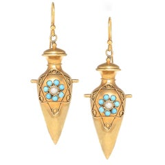 Etruscan Victorian Gold Pearl and Turquoise Urn Form Earrings