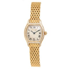 Cartier Ladies Yellow Gold Diamond Tortue Quartz Wristwatch