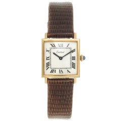 Cartier Gold Plate Tank White Dial Mechanical Wristwatch, 1970s
