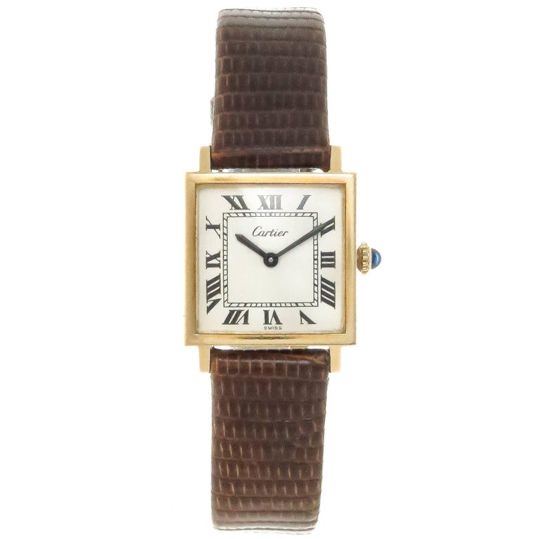 Cartier Gold Plate Tank White Dial Mechanical Wristwatch, 1970s