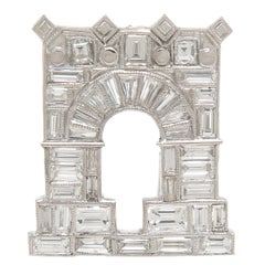Ghiso Paris Diamond Platinum Arc De Triomphe Clip Brooch