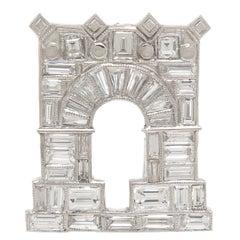 Ghiso Paris Diamond Platinum Arc De Triomphe Clip Brooch