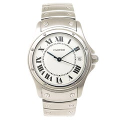 Cartier Stainless Steel White Dial Santos Automatic Wristwatch