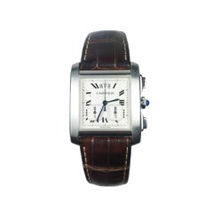 Cartier Tank Francaise Yearling Chronograph Steel Quartz Wrist Watch