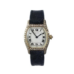 Cartier Yellow Gold and Diamond Tortue Ladies Quartz Wristwatch