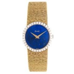Piaget Ladies Yellow Gold Diamond Lapis Dial Manual Wind Wristwatch