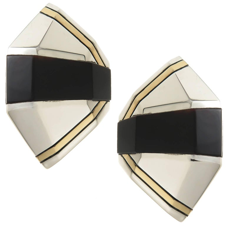 Cartier Onyx Silver Gold Earrings For Sale