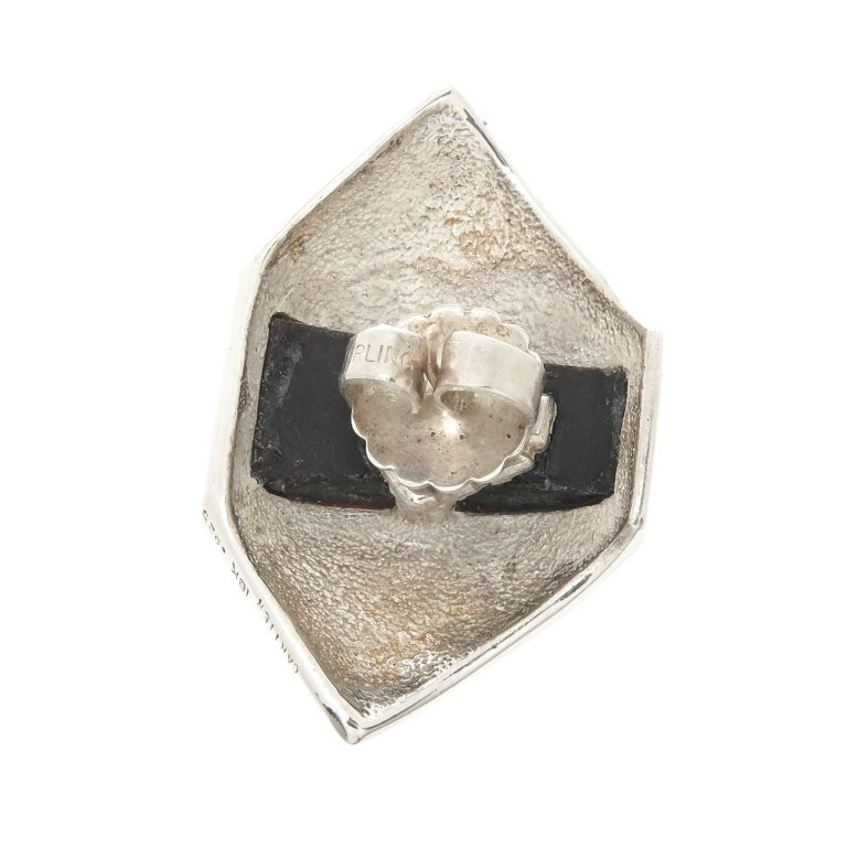 Art Deco Cartier Onyx Silver Gold Earrings For Sale