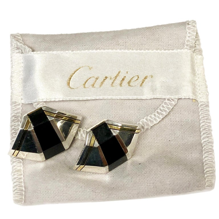 Cartier Onyx Silver Gold Earrings In Excellent Condition For Sale In Chicago, IL