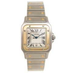 Cartier Yellow Gold Stainless Steel Santos Large Quartz Wristwatch