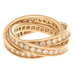 Cartier Yellow Gold and Diamond Trinity 3 Band Ring