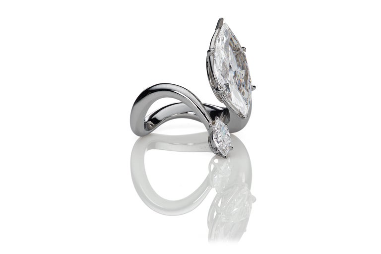 Perfection and style for the owner of  this D color Internally flawless diamond.  Exquisite style and wearability come with this platinum and white Marquise Diamond ring.  Smooth styling and a comfort fit make this ring a natural for daily wear.