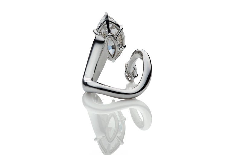 Contemporary DeBeers Millenium GIA Certified 5 Carat Marquise Cut Diamond and Platinum Ring For Sale