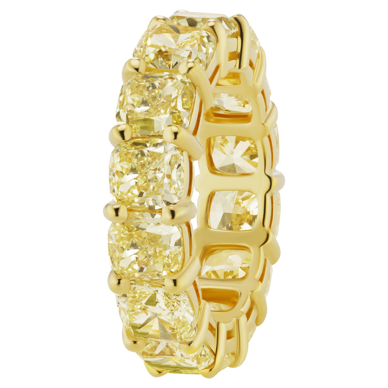 Scarselli 13 Carat Fancy Intense Yellow Diamond 18 Karat Eternity Band Ring, GIA