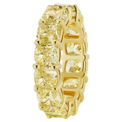 Scarselli 13 Carat Fancy Intense Yellow Diamond 18 Karat Eternity Band Ring, GIA