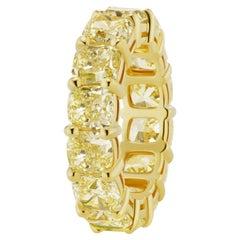 SCARSELLI 11.60 Carat Fancy Intense Yellow Diamond 18k Gold Eternity Band Ring