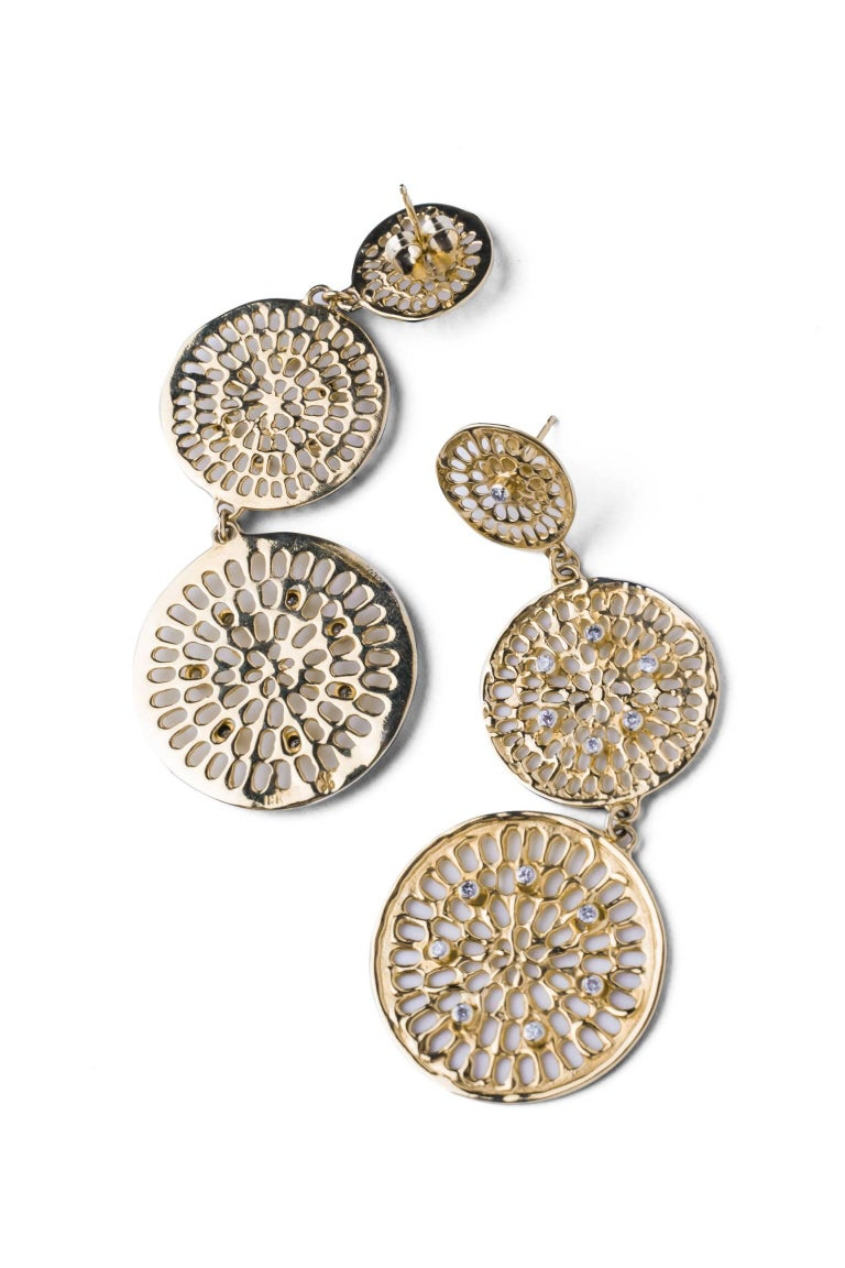 Contemporary Joan Hornig Triple Diamond Pinwheel Earrings For Sale