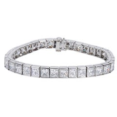 Kwiat Princess Cut Diamond Tennis Bracelet in Platinum (24.89 CTW)