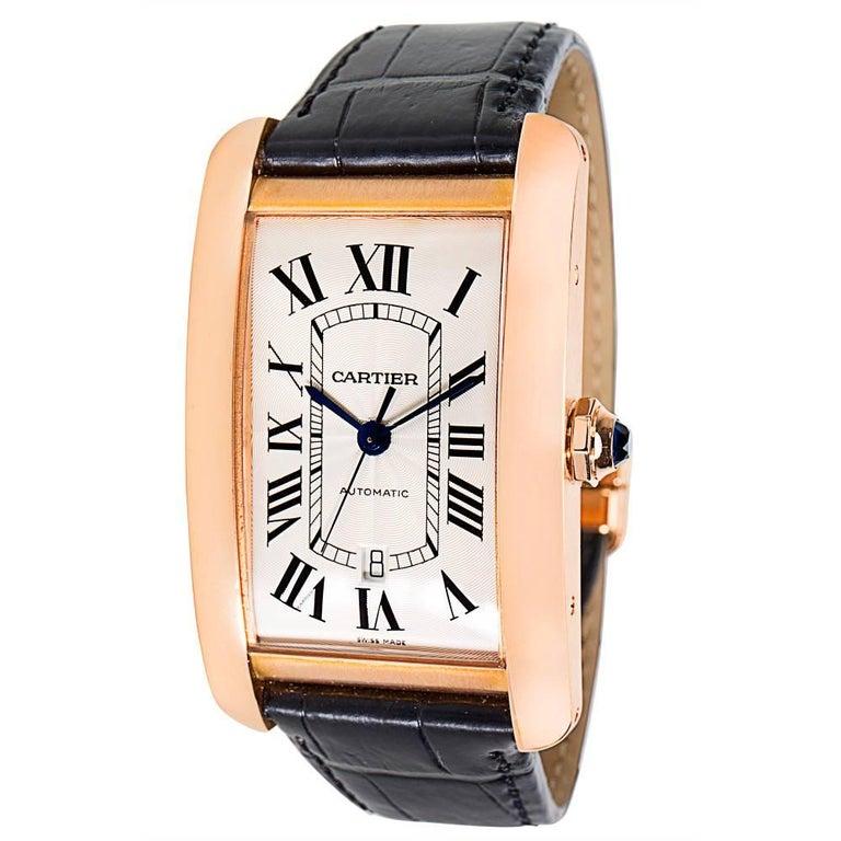 Cartier Tank Americaine W2609856 Men's Watch in 18K Rose Gold