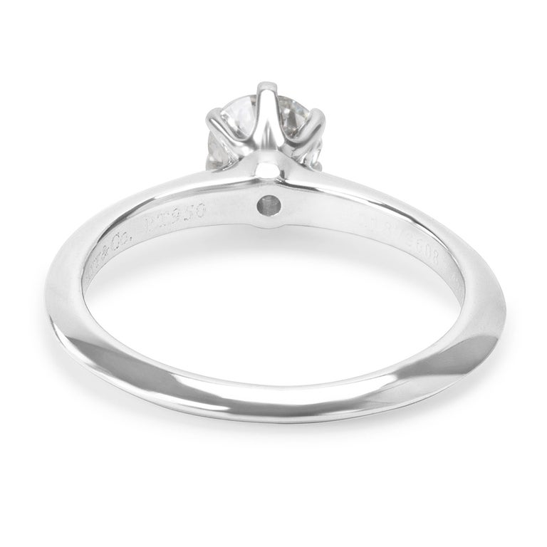 Modern Tiffany & Co. Diamond Solitaire Engagement Ring in Platinum 0.42 Carat For Sale