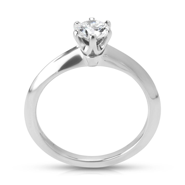 Round Cut Tiffany & Co. Diamond Solitaire Engagement Ring in Platinum 0.42 Carat For Sale