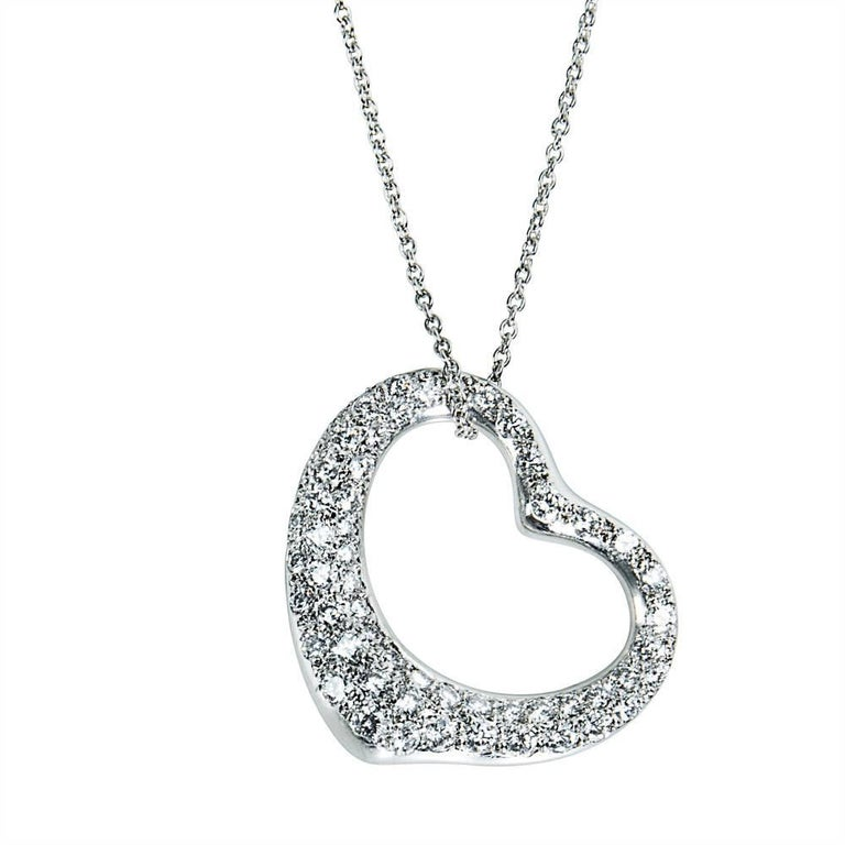 Tiffany & Co Elsa Peretti Pave Diamond Heart Necklace in Platinum 2.00 Carat